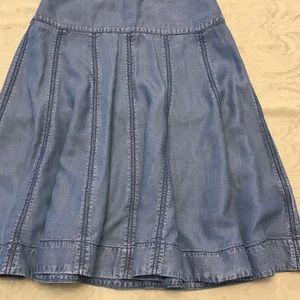 Maeve light denim jean pleated skirt.
